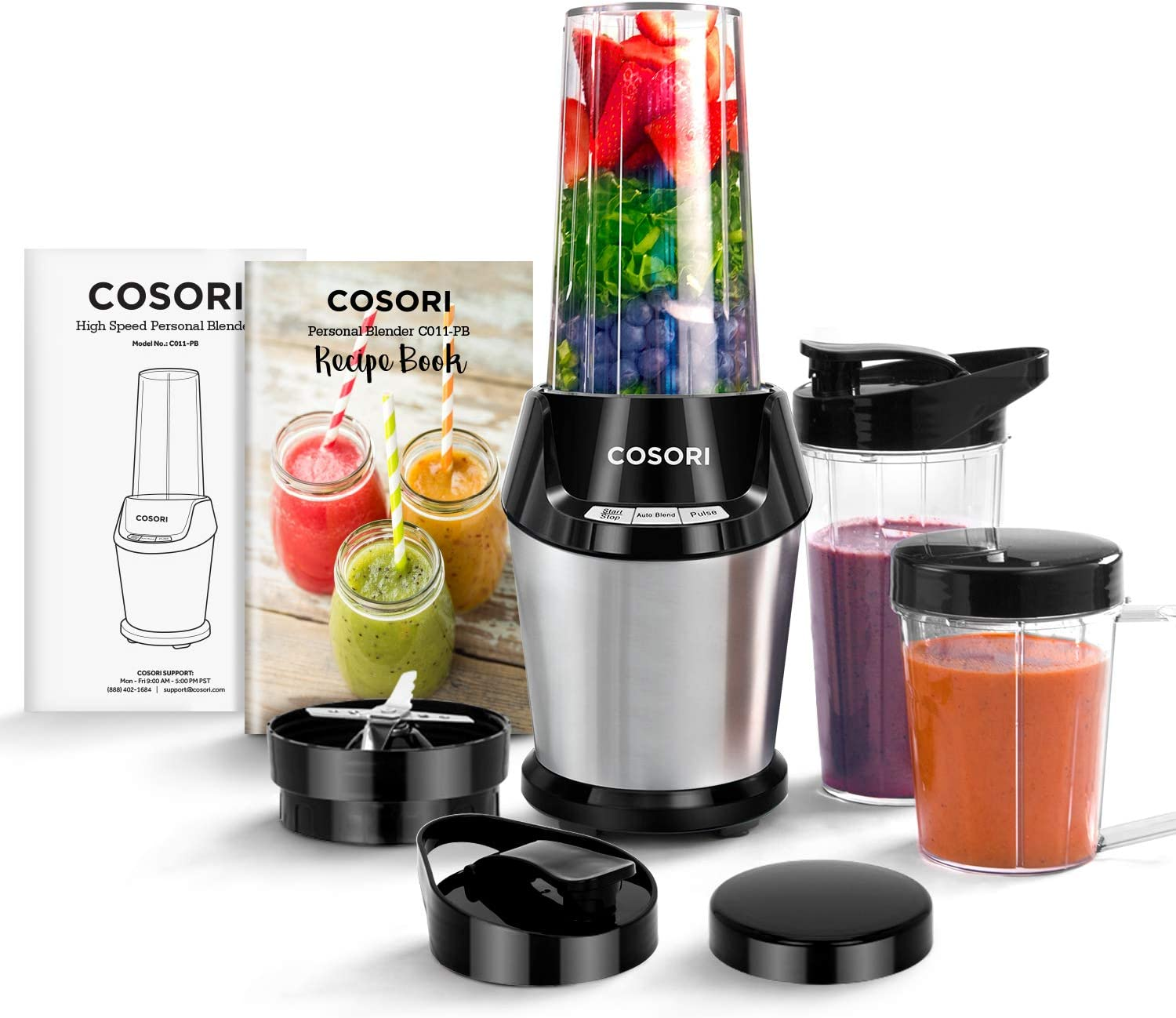 COSORI Blender for Shakes and Smoothies, 10-Piece 800W Auto-Blend High Speed Smoothie Blender/Mixer for Ice Crushing Frozen Fruits, 2x 24oz Cups, 1x 12oz Cup, ETL Listed/FDA Compliant