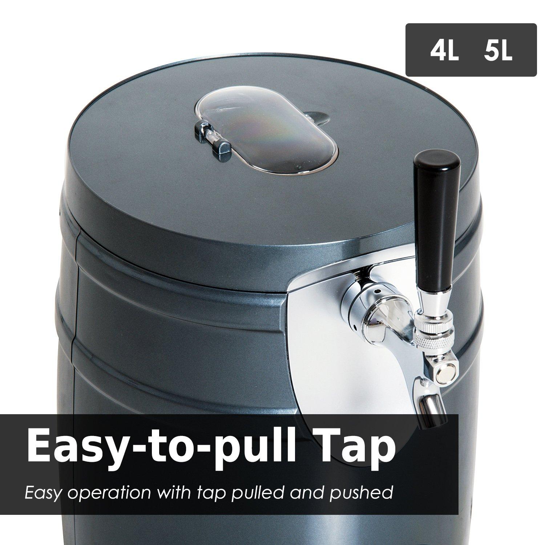 HOMCOM 5 Liter Mini Kegerator Beer Cooler Dispenser Portable -Black by HOMCOM (Image #3)