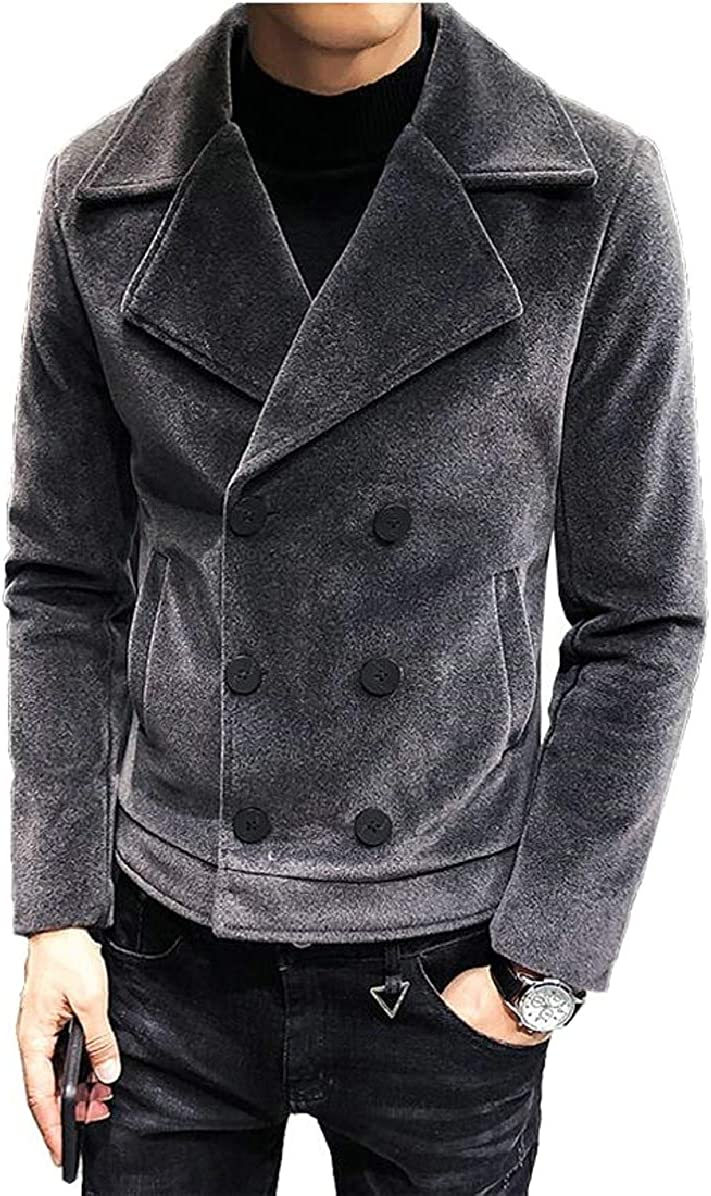 ONTBYB Mens Casual Single-Breasted Notched Collar Wool Coat Outwear