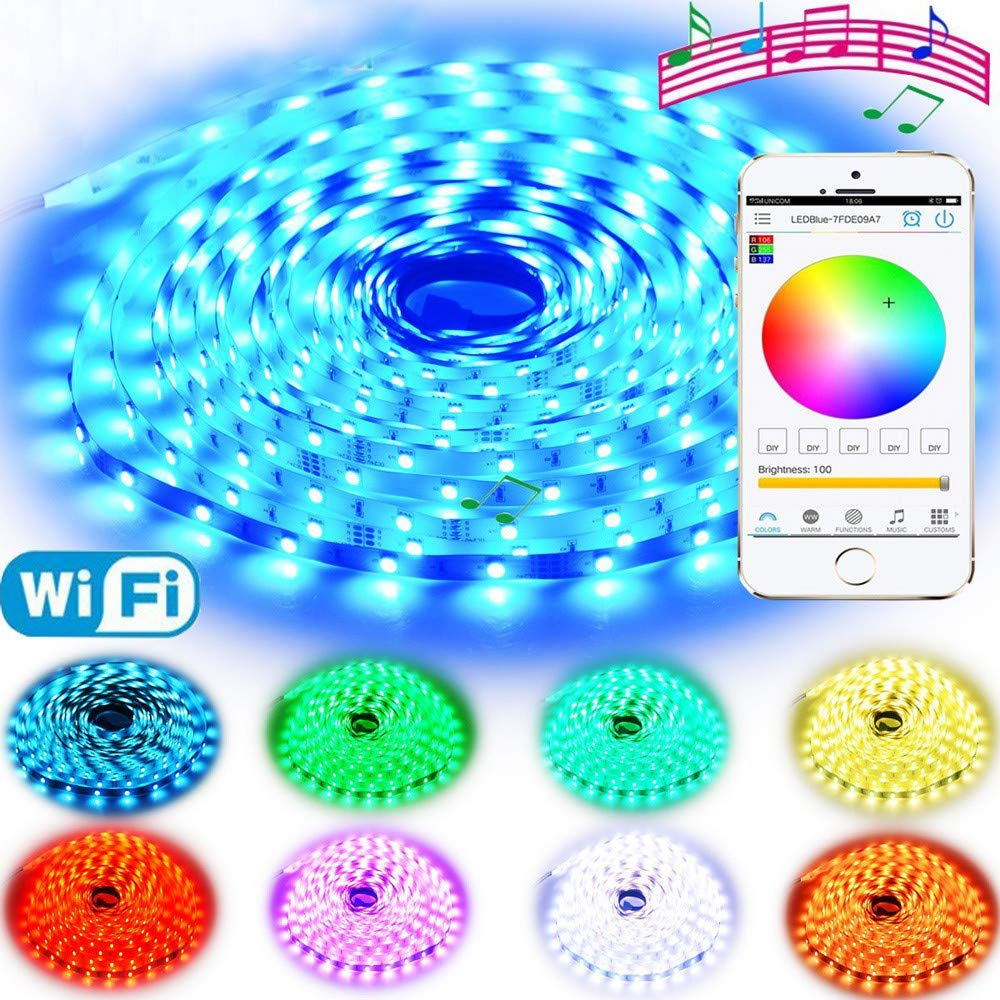 LED Strip Lights with RGB WiFi Wireless Control, 5M 16.4ft 12V 150LEDs 5050 String Lights for Wedding Party Home Garden Bedroom Outdoor Indoor Wall Decorations