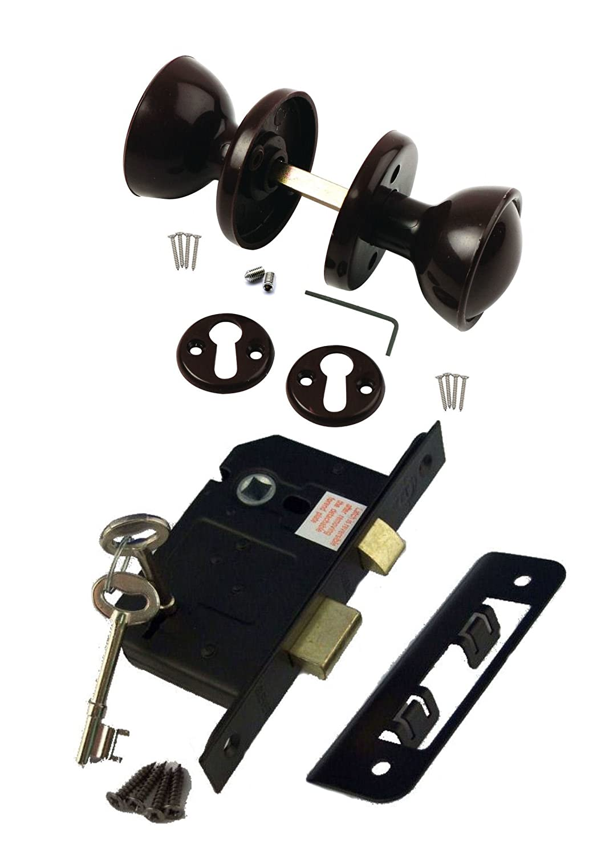 Garden Shed, Summer House, Gates, Mortice Door Knob / Handles Set & Lock +2 Keys Discount Hardware UK