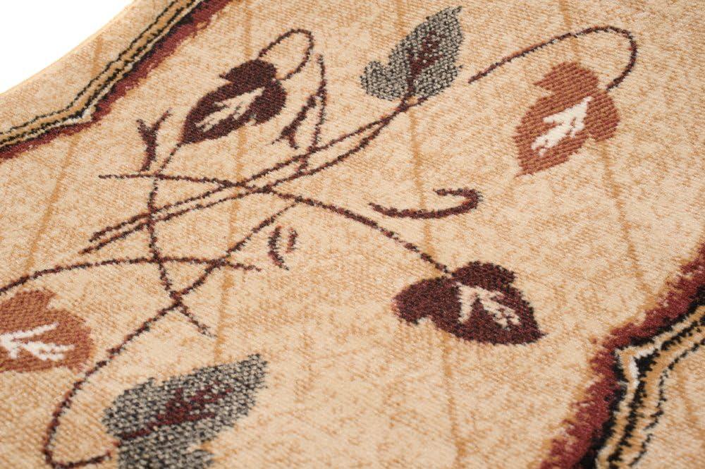 Color Beige Claro De Dise/ño Espejo Hojas Mejor Calidad Alfombra De Pasillo Tradicional Diferentes Dimensiones S-XXXL 60 x 100 cm