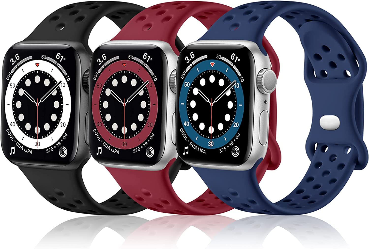 Rubinom Sport Bands Compatible for Apple Watch 40mm 38mm Women Men, Soft Silicone Breathable Holes Replacement Wristband for iWatch SE & Series 6/5/4/3/2/1, 3 Pack of Dark Blue/Black/Wine Red