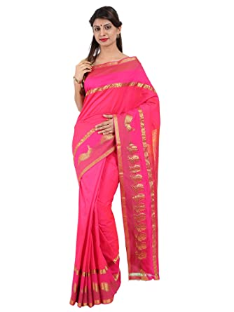 f7c056afe0 CLASSICATE From The House Of The Chennai Silks - Pure Dharmavaram Silk Saree  With Running Blouse (CCOPSS10822 - Pink - Free Size): Amazon.in: Clothing &  ...