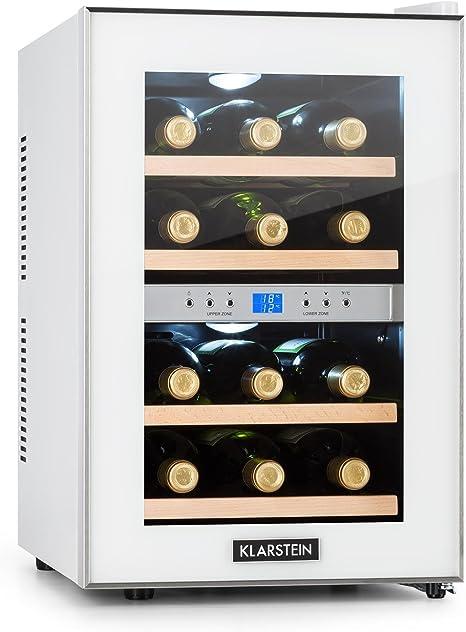 Opinión sobre Klarstein Reserva - Nevera de vinos, Refrigerador bebidas, 34 L, 12 Botellas, 4 Estantes, Control Touchpad, 2 Zonas, Temperatura 7-18 °C, Doble Cristal, Blanco