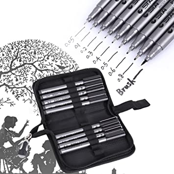 Image result for photo of a Black Micro-Line Pens, 9pcs Different Tips Water Based Pen Brush Archival Ink Micro Pens for Beginners Writing, Signature, Illustration, Design, Drawing with Pen Bag