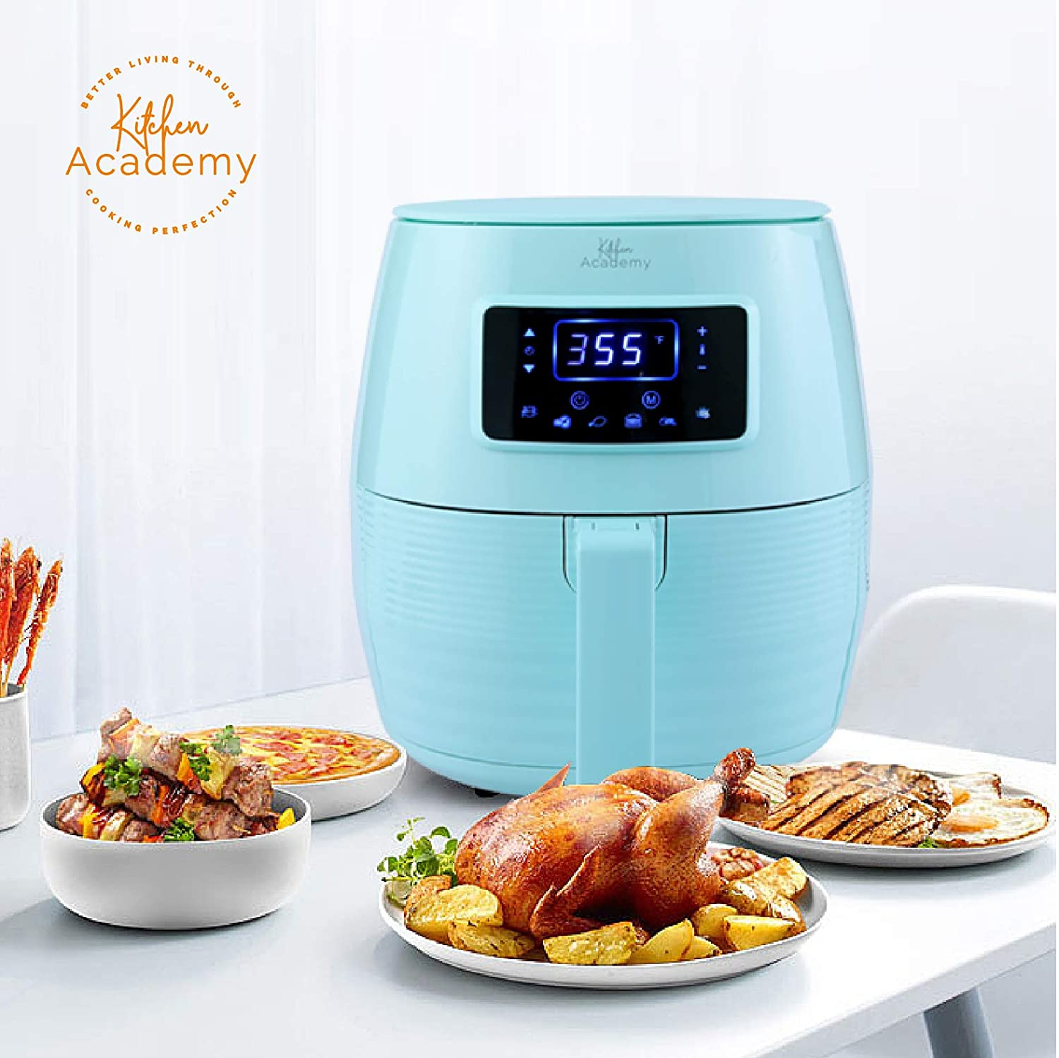 Kitchen Academy Air Fryer (50 Recipes), 5.8 Qt Electric Hot Air Fryers XL Oven Oilless Cooker, 7 Cooking Preset, LED Digital Touchscreen,Nonstick Basket,1 - Year Warranty,ETL/FDA Listed,1700W - Aqua Blue