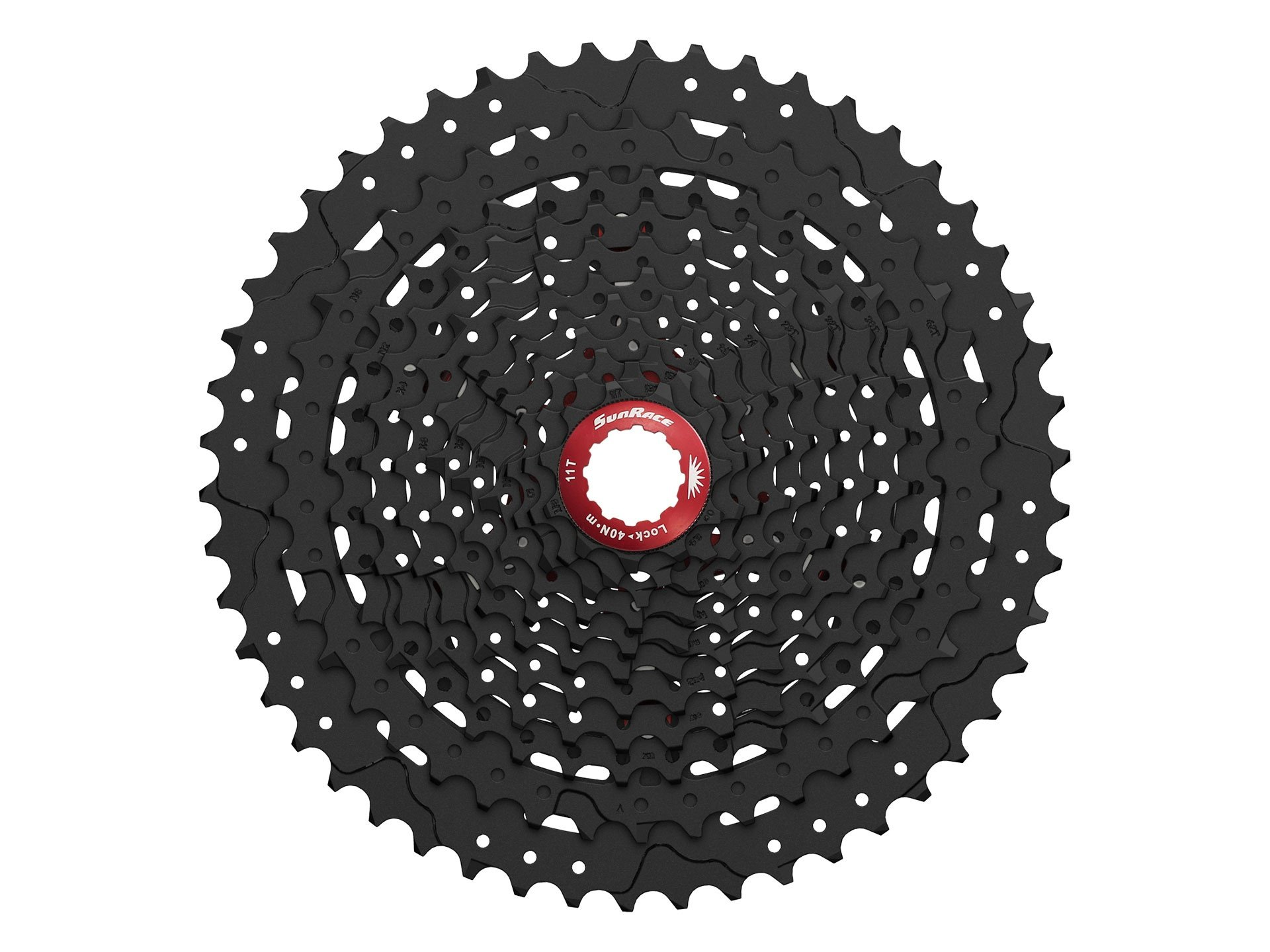 Sunrace 11-50T CSMX80 wide ratio 11-speed MTB Cassette with rear derailleur link by JGbike (Black Chrome)