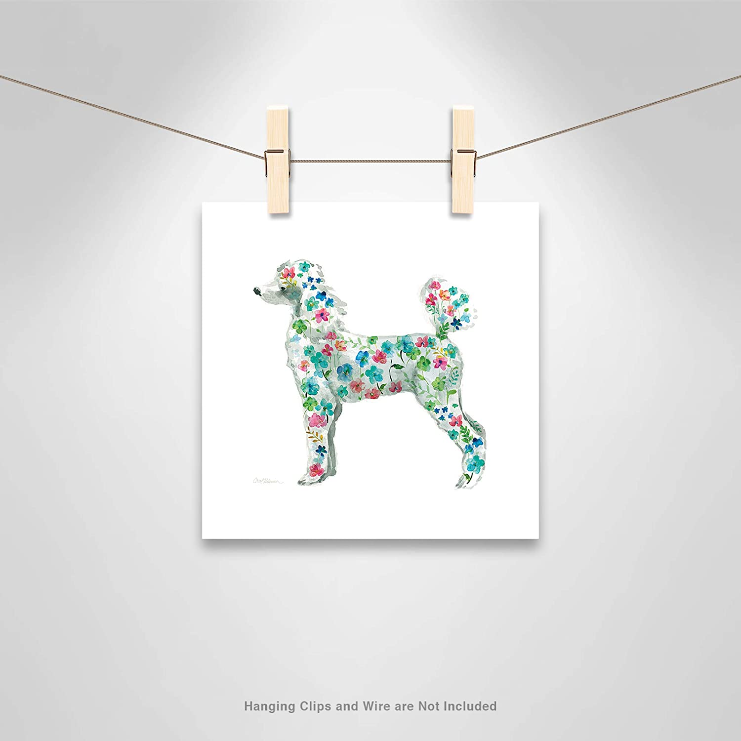 Casa Fine Arts Tapestry Poodle Cute Quirky Floral Animal House pet Dog Archival Watercolor Art Print 10 x 10 Multicolor