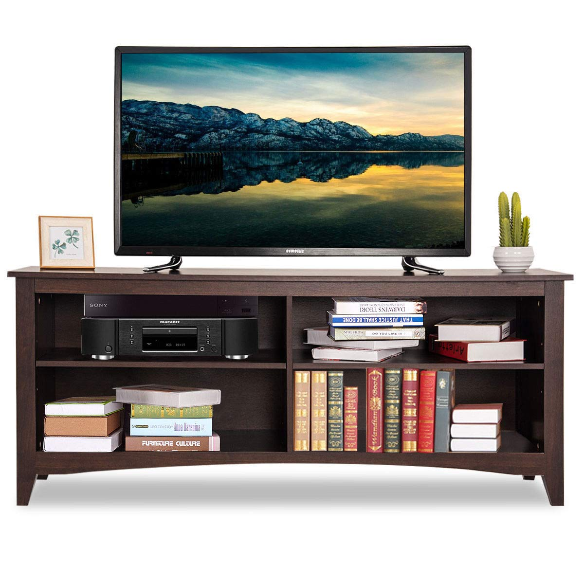 Amazon com tangkula tv stand 58 wood large wide modern storage media console entertainment center with 4 open shelves espresso kitchen dining