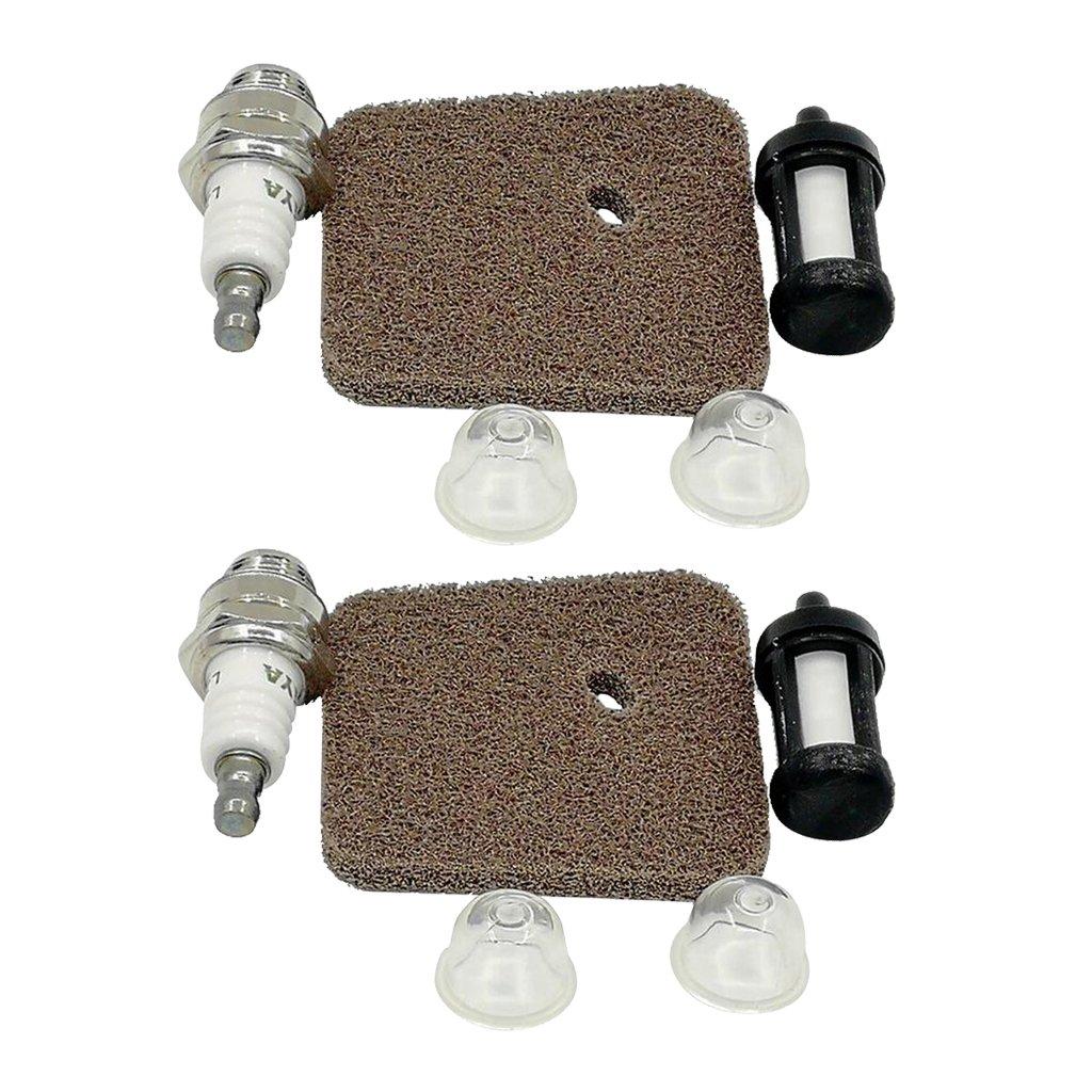 Homyl 3 Sets Air Filter Fuel Filter Spark Plug Primer Bulb For Stihl FS38 FS45 FS46 FS55 HS45 FC55 KM55 KM55R Trimmers