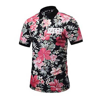 Carolyn Jones Brand Designer Polo Shirt Men New Summer Fashion Full Flower Printed MenS Polo Shirt