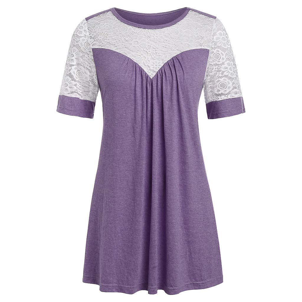 〓COOlCCI〓Women Round Neck Lace Solid Front Pleated Loose Fit Casual Blouse Top Tunic Shirt Short Sleeves Flowy Blouses Purple by COOlCCI_Womens Clothing