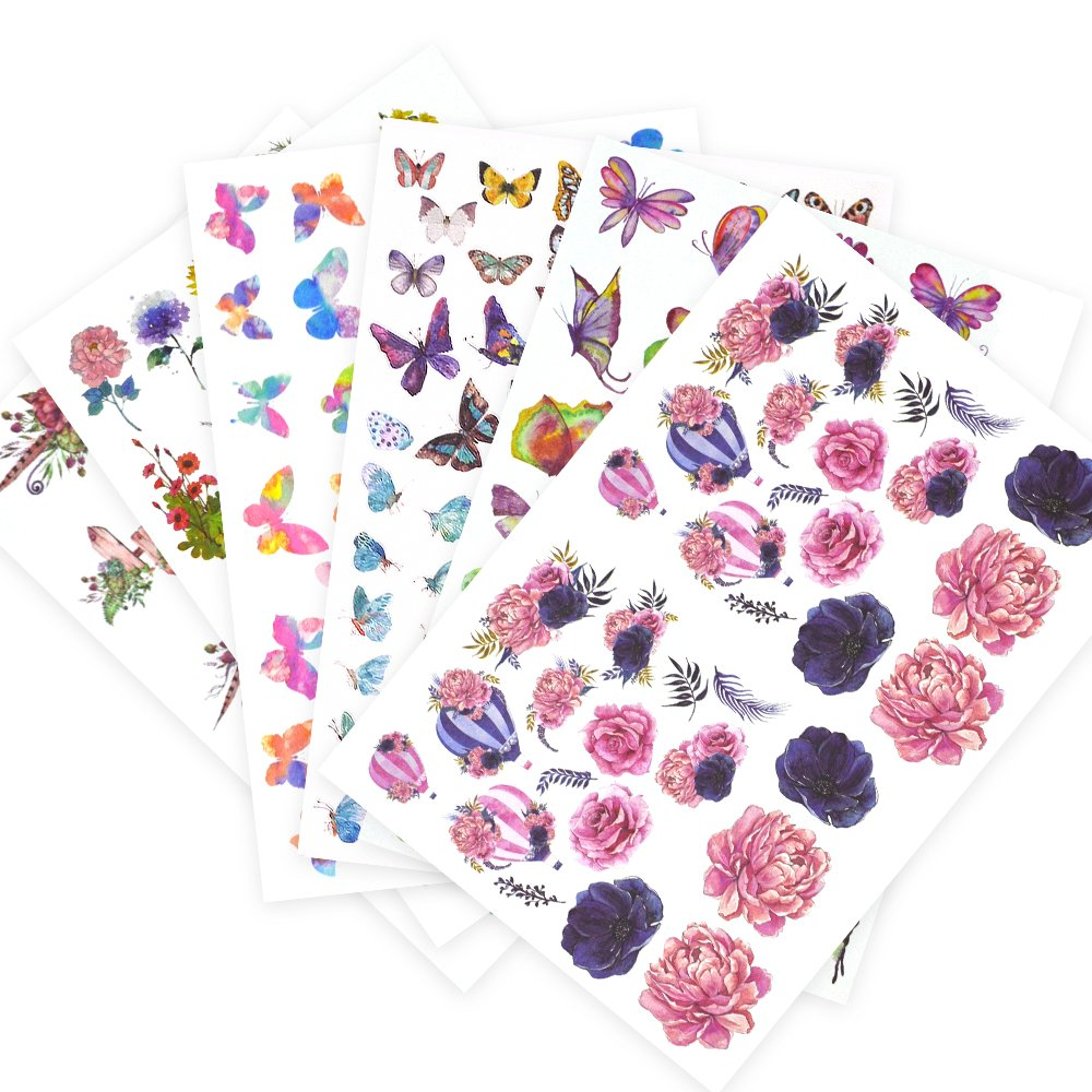 Laptop Stickers 7 Pack, Lovely Cool Flower Stickers for Lugggage Cases, Laptops, Skateboard, Bicycle, Diary, Phones for Boys and Girls
