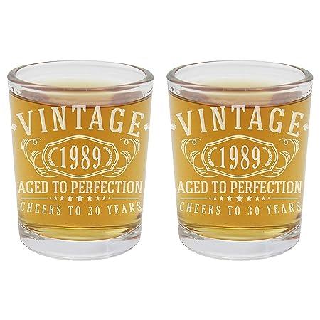 2 vasos de chupito grabados para cumpleaños de 2.5 onzas ...