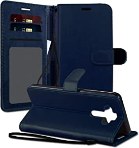 EnCASEs Wallet Case with Hand Strap for LG Phoenix 5 / Aristo 5 / K31 / Fortune 3 / Tribute Monarch / K8x / Risio 4, PU Leather Clip Flip Phone Case Cover, Credit Card Pocket Holder, Navy Blue