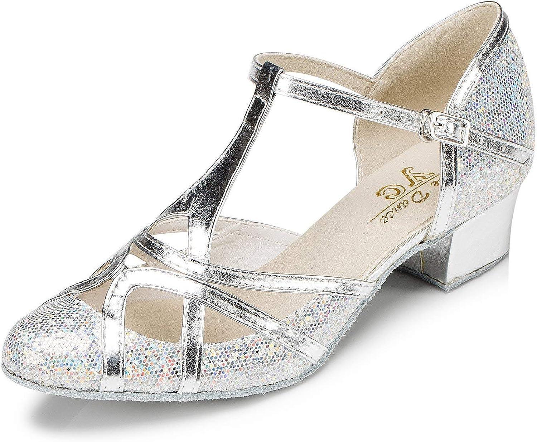 CRC Women\'s Round Toe T-Strap PU Leather Glitter Material Ballroom Morden Tango Salsa Professional Dance Shoes