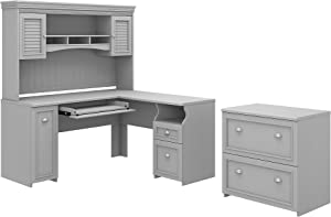 Bush Furniture Fairview L Shaped Desk with Hutch and Lateral File Cabinet, 60W, Cape Cod Gray