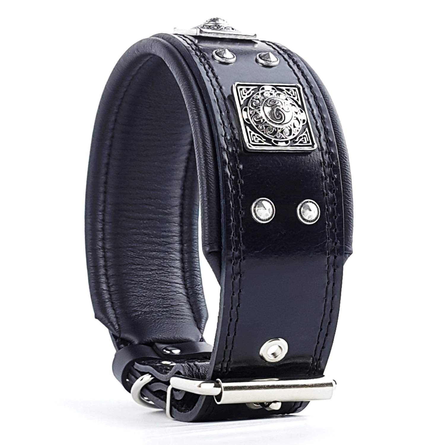 Bestia The Black Eros Collar for Big Dogs. 2.5 inch Wide & Soft Padded