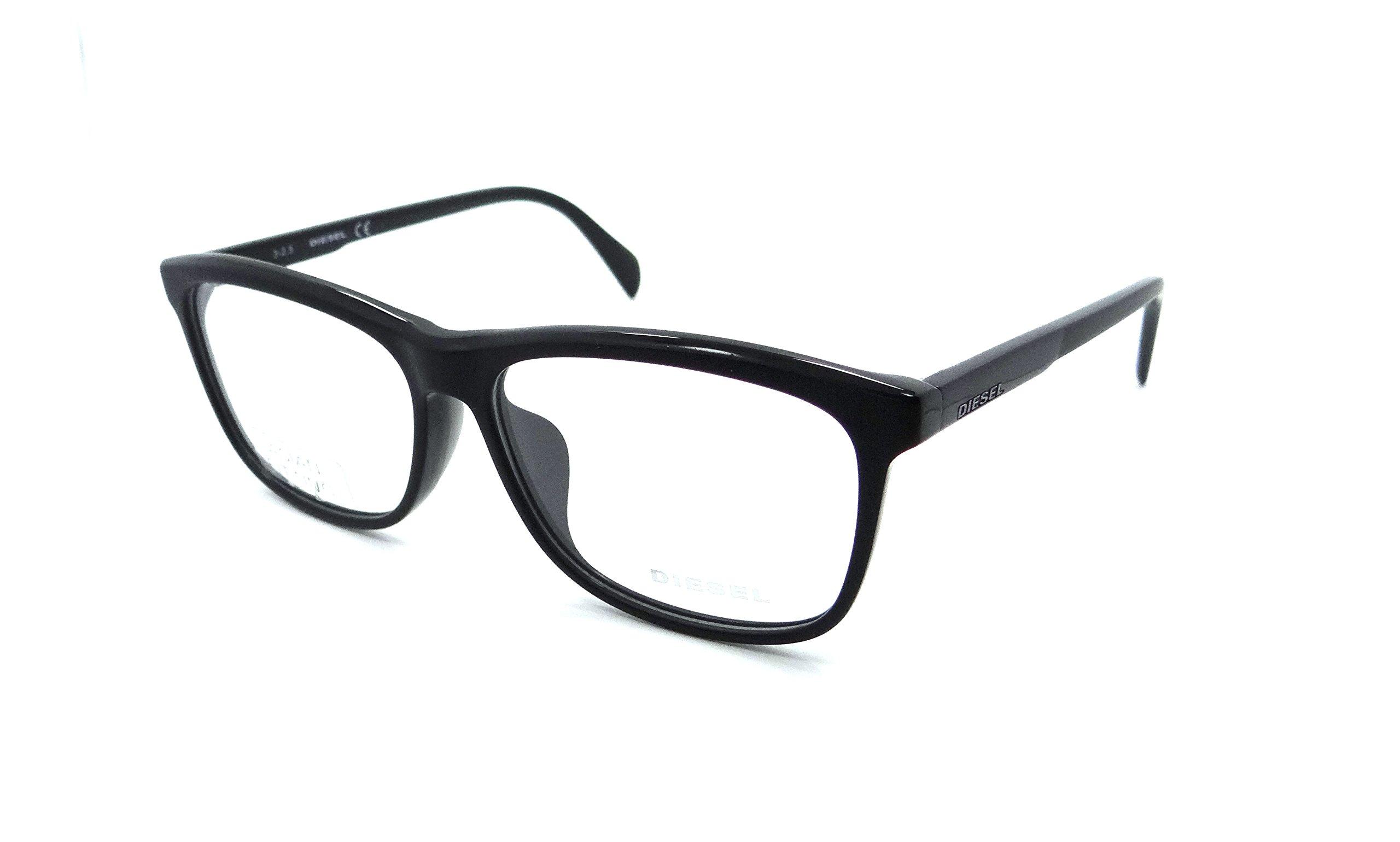 Diesel Rx Eyeglasses Frames DL5183-F 002 57-14-145 Matte Black / Shiny Asian Fit