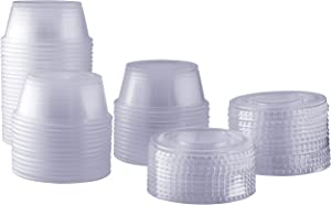 [100 Sets - 3.25 oz.] Plastic Disposable Portion Cups With Lids