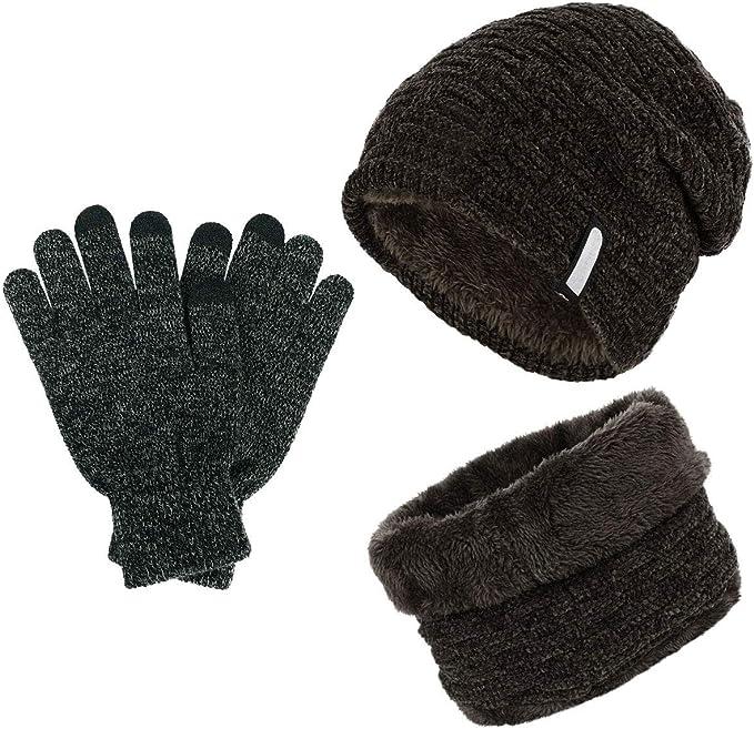 Set aus Mütze und Schal aus Chenille Strick Hellgrau
