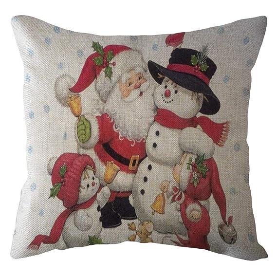Fundas de Almohada para Decoración de Hogar Adorno para Fiesta de NavidadNavidad Papá Noel Funda de Almohada Sofá de Lino Throw Cushion Cover Decoración ...