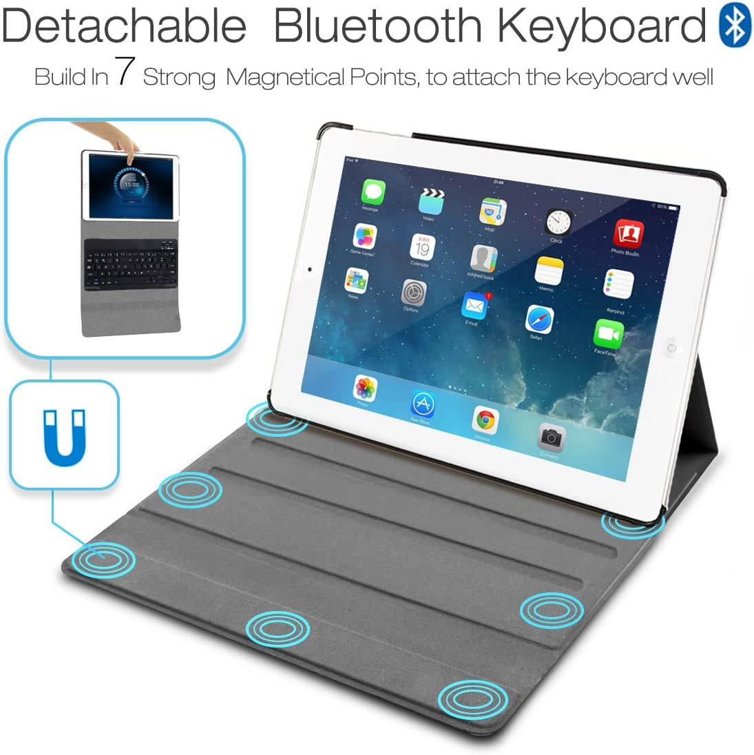 iPad Pro 9.7 Detachable Bluetooth Keyboard with Magnetically Slim ...