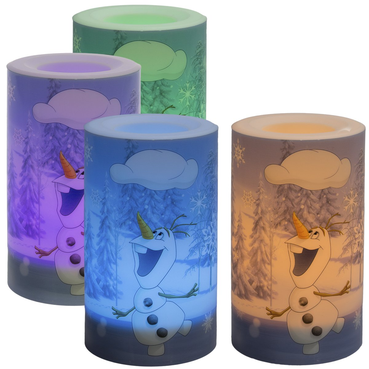 Disney (4 Pack) Frozen Color Changing LED Flameless Candles Unscented Flickering Set Decorative