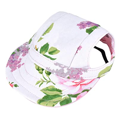 Dog Baseball Hat Leisure Cool Cotton Dog Accessory Puppy Hat(Pink,White,M)
