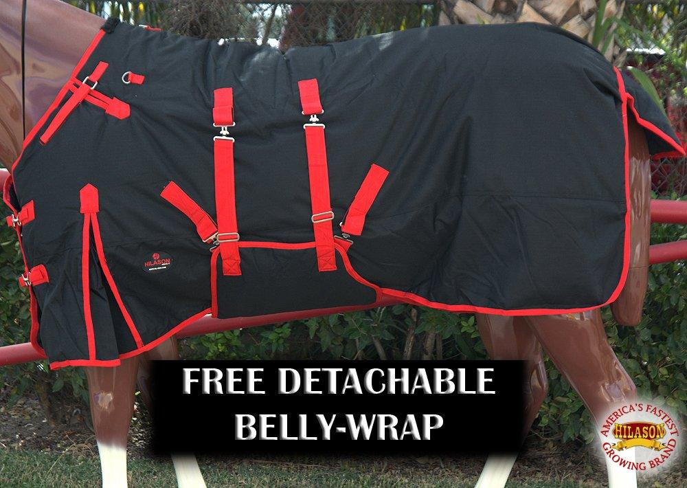 HILASON 69 1200D Poly Turnout Horse Winter Belly WRAP Sheet Black