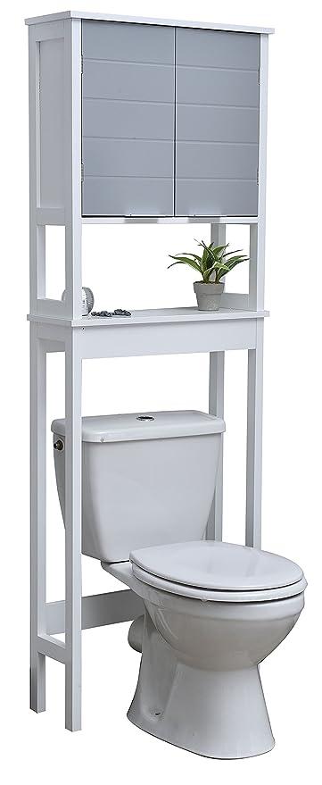 Tendance Meuble Dessus Toilettes Wc 1 Rangement 2 Portes Et 1 Tablette Coloris Blanc Et Gris