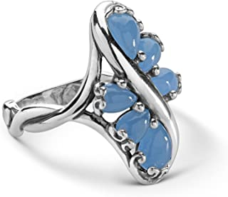 product image for Carolyn Pollack Sterling Silver Jade & Agate Gemstone Cluster Ring Size 5 to 10 - Choice of Gemstones