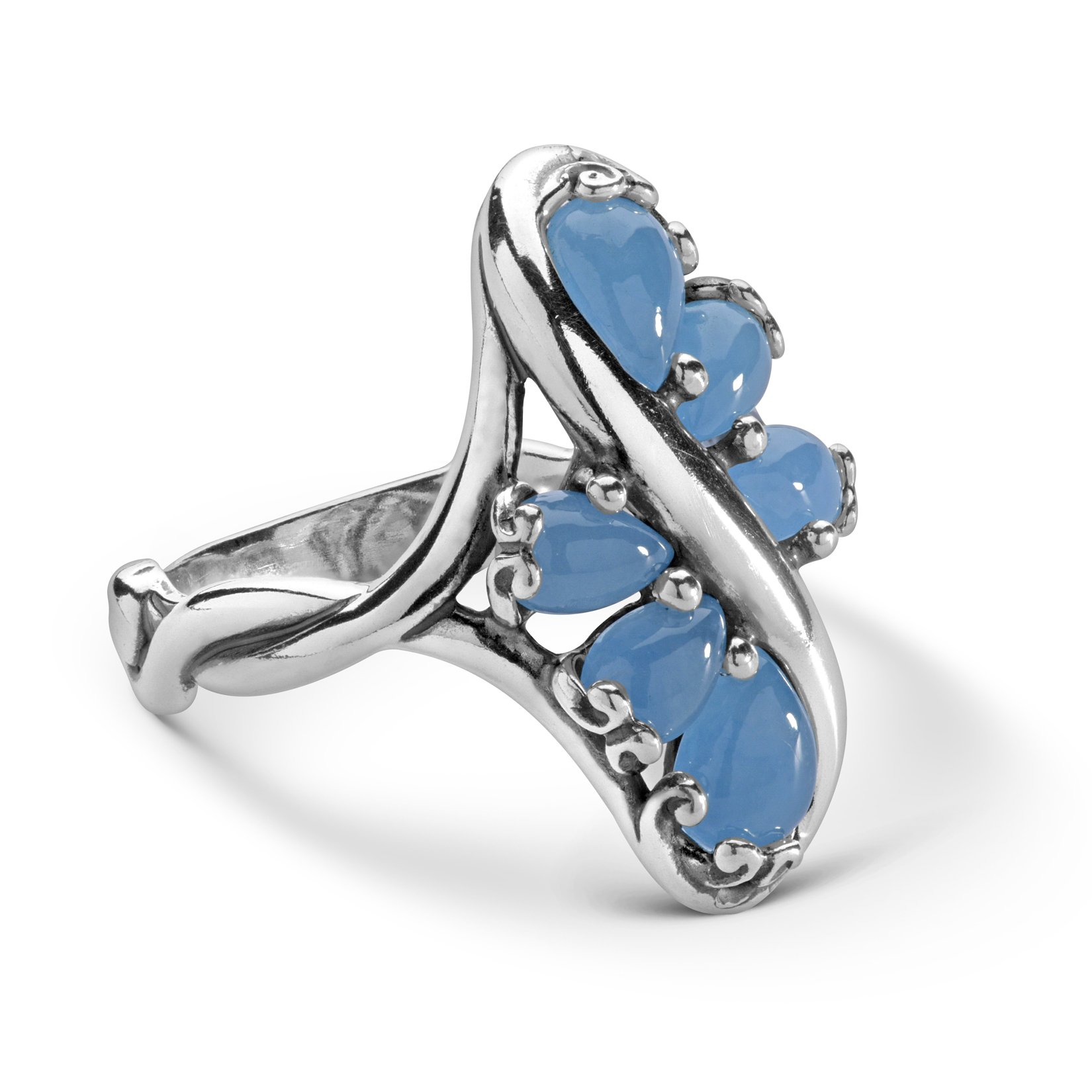 925 Silver and Blue Jade Cascading Ring - Size 9