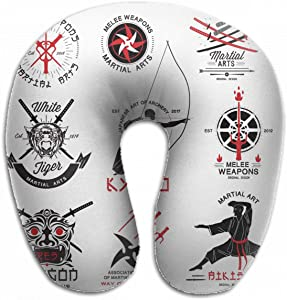 Emvency U-Shaped Travel Neck Support Pillow Martial Arts Riental Weapons Samurai Airplane 12x11.5 Inch Soft U-Pillows with Rebound Material for Kids Adults