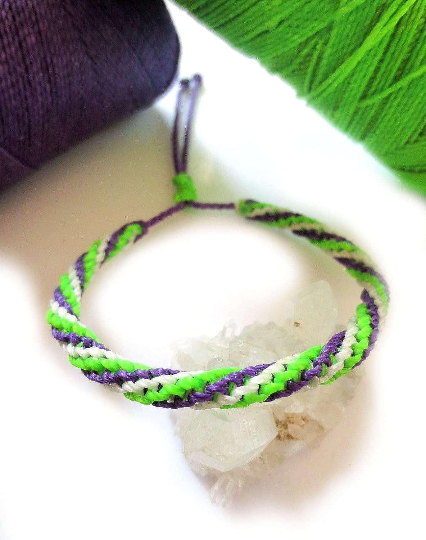 Friendship Bracelet 3 in 1 style bracelet Salmon,Green and Purple