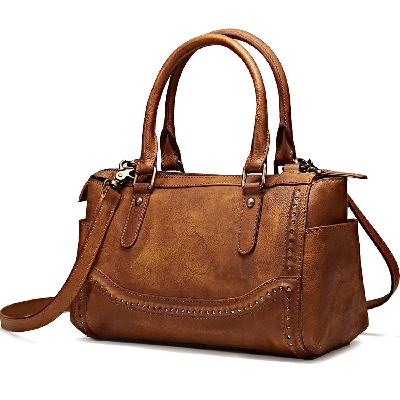 NiceEbag Women Satchel Top-handle Bag Vintage Handbags Shoulder Bag Ladies Genuine Leather Tote Purse With YKK Zipper [11.8 x 7 x 5.7 Inch] (Brown) by NiceEbag