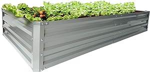 zizin Galvanized Raised Garden Beds Metal Elevated Planter Box Steel Large Longer Vegetable Flower Bed Kit, 6 ×3 ×1 ft