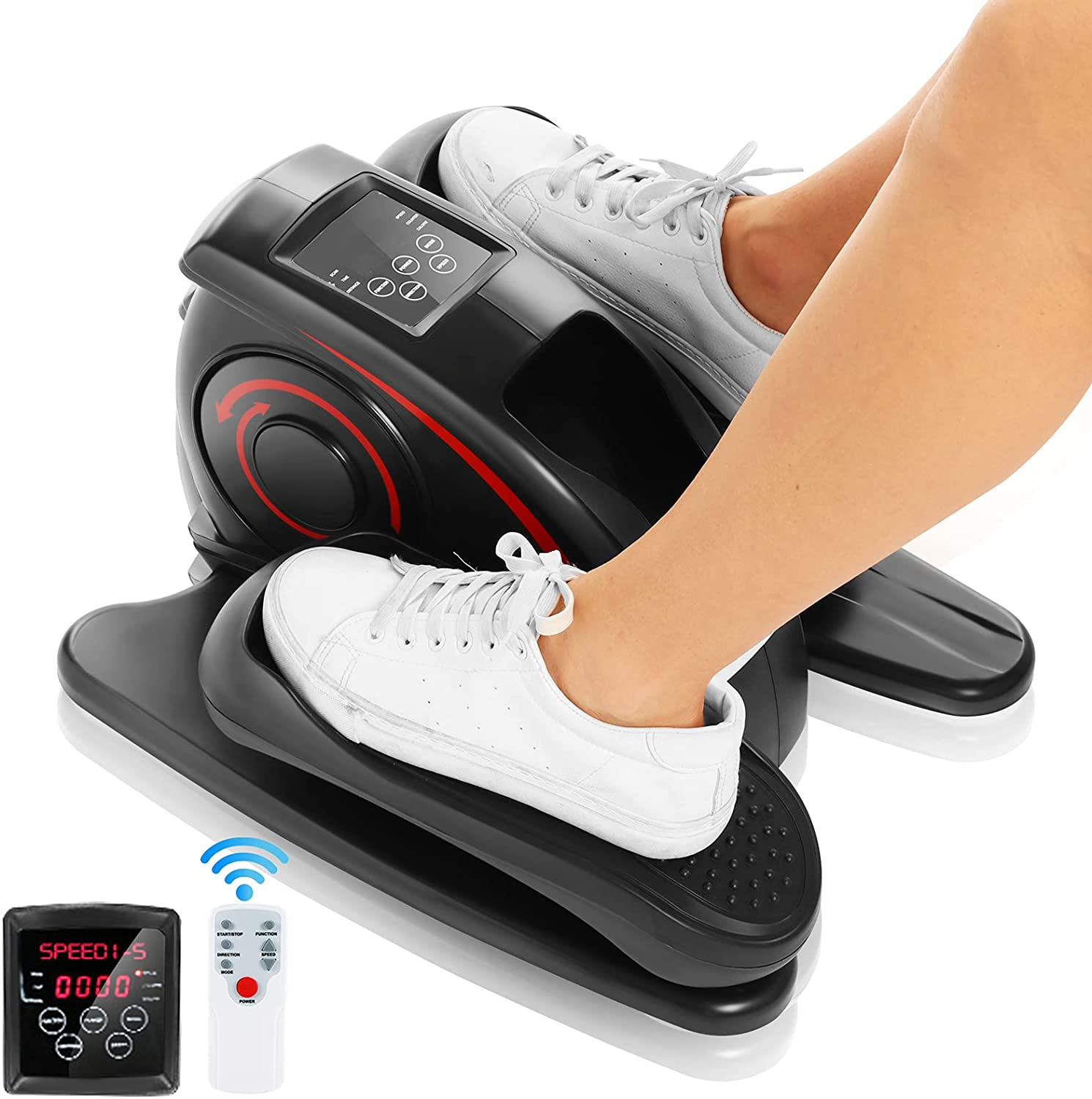 ANCHEER Under Desk Cycle, Indoor Pedal Exerciser, Electric Under Desk Elliptical Machine Trainer with Built in Display Monitor Quiet & Compact