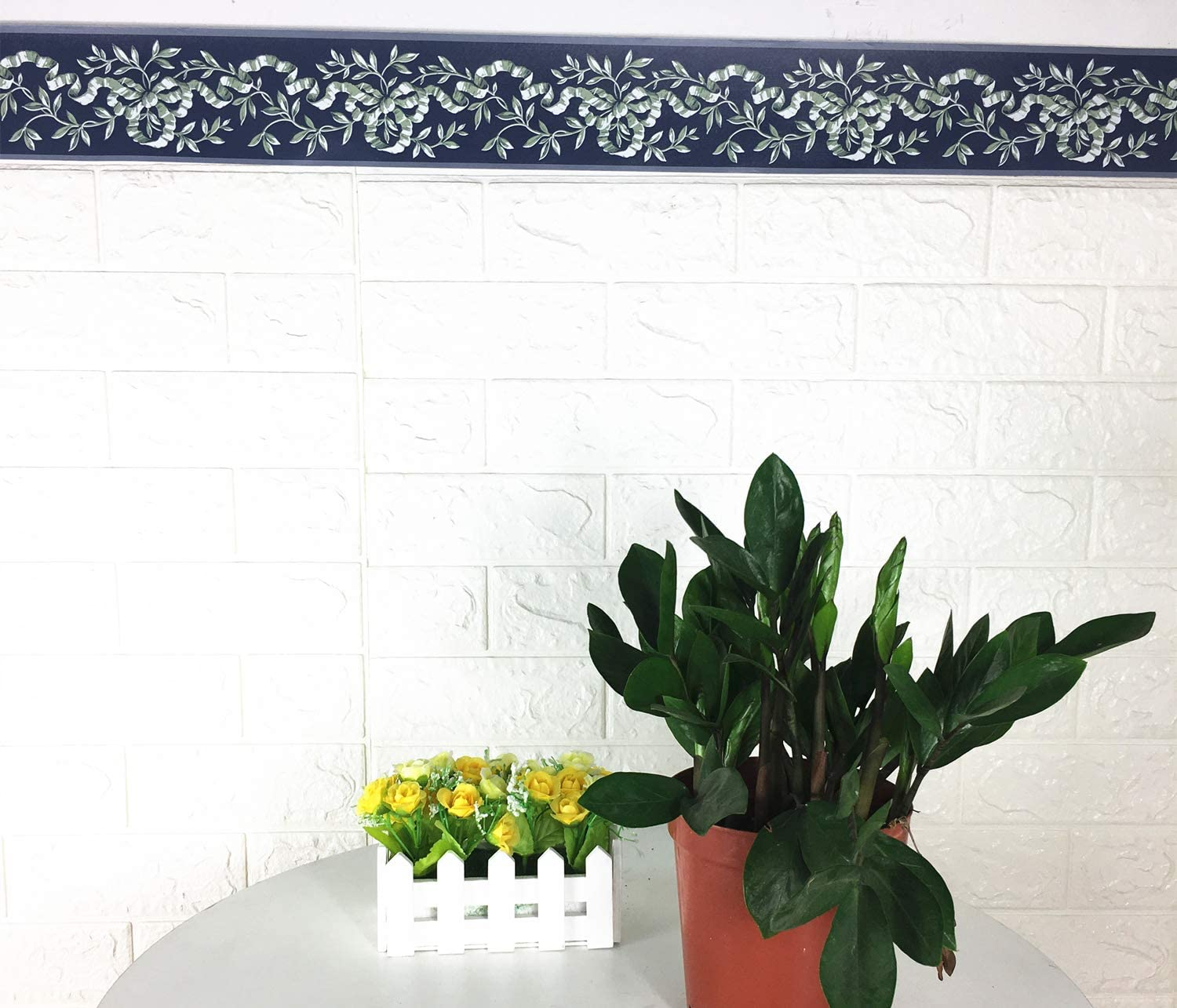Wallpaper Borders Blue Floral Molding Wallpaper Border Peel Stick Home Ceiling Decorative Border For Bathroom Living Room Kitchen 4inch By 32 8inch Tools Home Improvement
