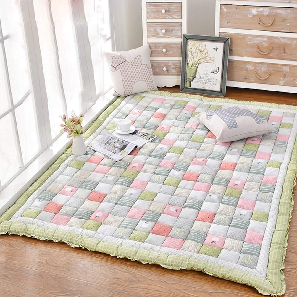 Rug WAN SAN QIAN Padded Low-pile Home Slip-resistant Carpet Bedroom Rectangular Bedside Children Crawling Mat (Color : A, Size : 65x180cm)
