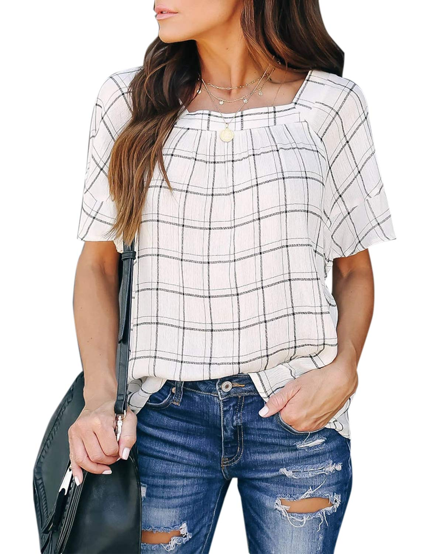 Women's Loose Plaid Top Square Neck Short Sleeve Chiffon Blouse Shirt