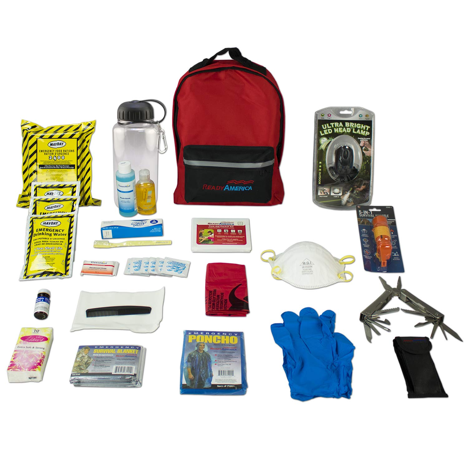 Ready America 70185 Deluxe Emergency Kit 1 Person 3 Day Backpack by Ready America