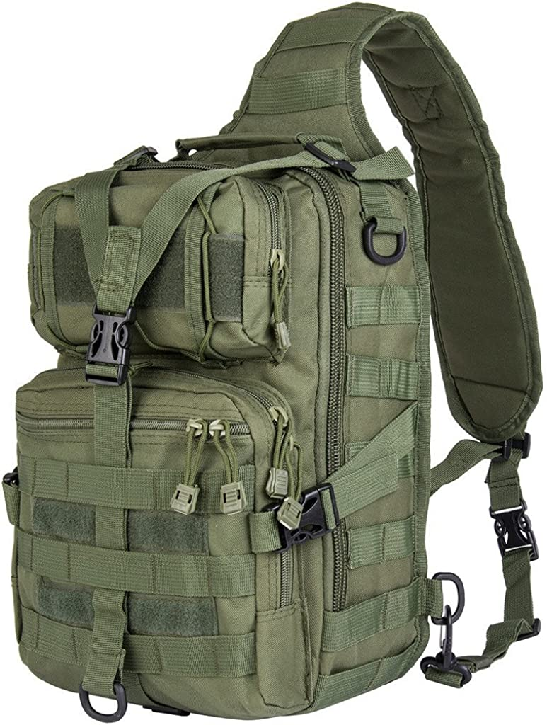 Shoulder Pack Compact and Versatile or Hand Carry Chest Pack RIAVIKA 20L Small Tactical MOLLE Sling Pack Backpack Military Assault Style Rucksack.