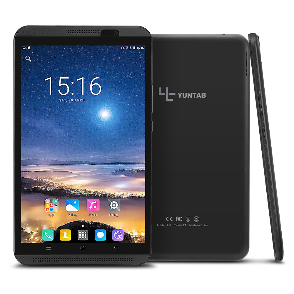 Yuntab H8 Android 6.0 Tablet 4G WIFI Quad-core 2GB / 16GB Unlocked GSM 4G LTE Tablet Phone 8 Inch Touchscreen IPS 800 x 1280 Dual SIM Slots Cellphone with Bluetooth Dual Camera (Black)