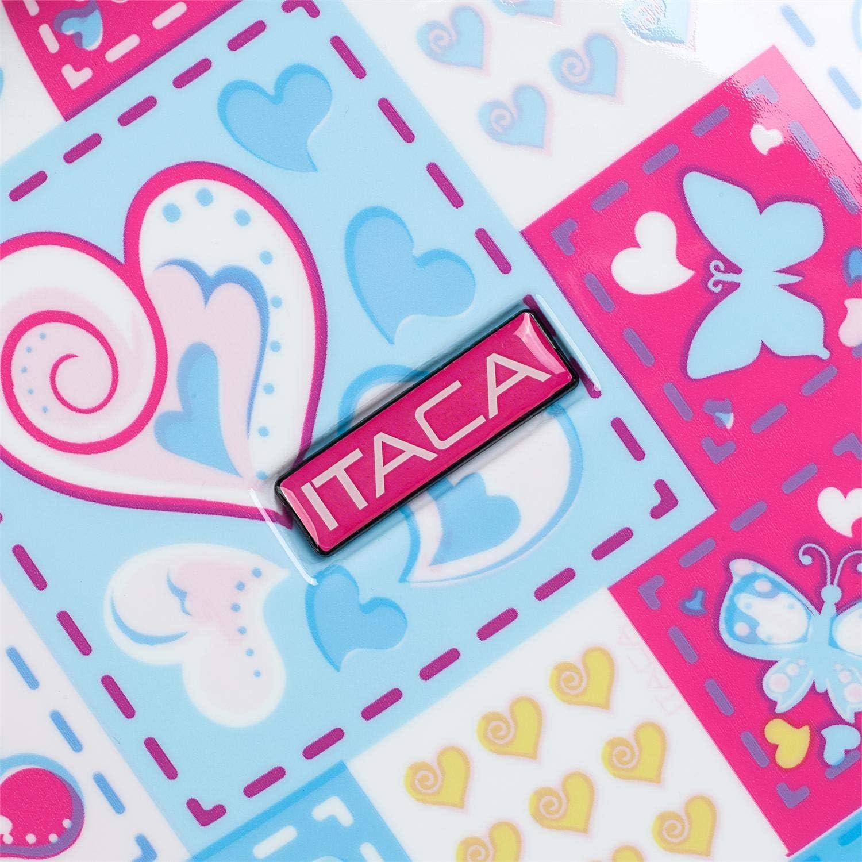 Belle Conception Polycarbonate imprim/é Valises de Voyage pour Enfants 4 Roues avec Voiture 2 Tailles: Petit et Moyen Color Bleu-Fuchsia 702300 ITACA Rigide Confortable et L/éger