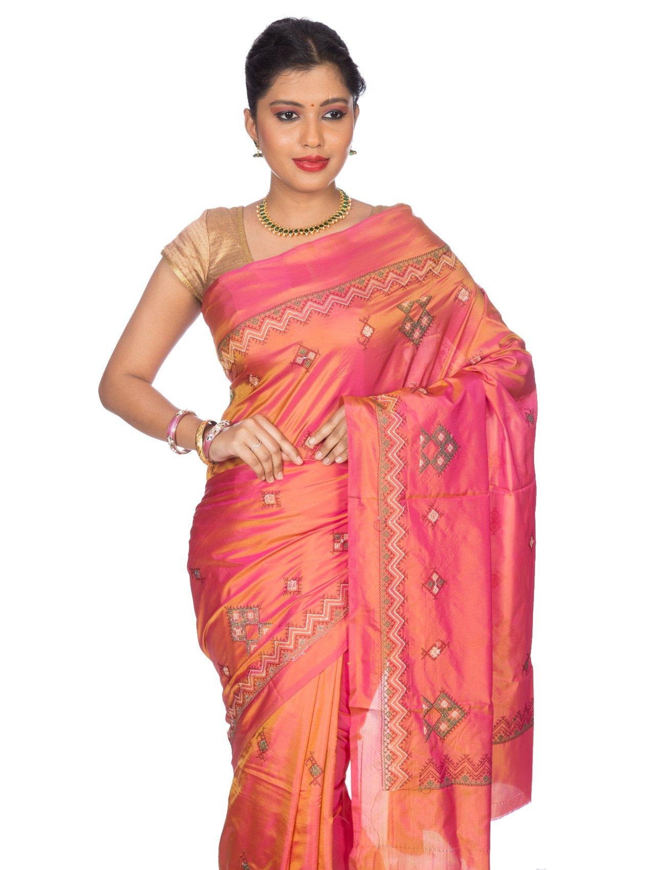 Mandakini Women's Tassar Silk Kasuti Saree (MK561_Orange Pink) by Mandakini (Image #2)