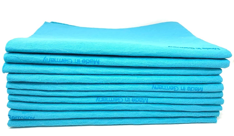 10枚パック 特大 オリジナル ジャーマンシャミークロス セーム革タオル 超吸収性 ペット用 親道具 クリーニング 自宅 商業用 卸売 ブルー B07P244QPX ブルー