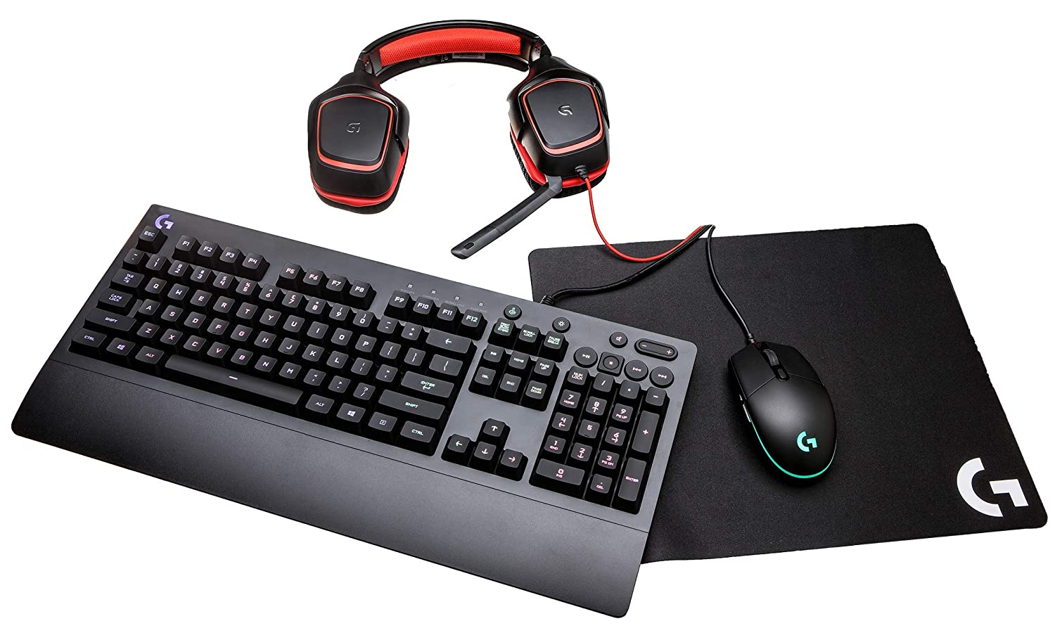 7f7ea9e8af0 Amazon.com: Logitech G Gear UP Gaming Bundle Gaming Grade Mouse, Keyboard,  Stereo Headset Mouse Pad, Black: Computers & Accessories