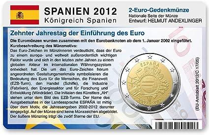 Para 2 Tarjeta de monedas Euro Comunidad Moneda España 2012 – 10 años Euro: Amazon.es: Oficina y papelería